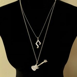 Jewelry - Guitar and Music Note Dangling Necklace